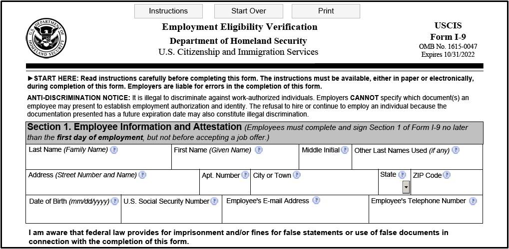 i-9 Form 2021 Printable