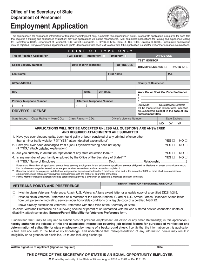 State Of Illinois Employment Application Forms Fill Out