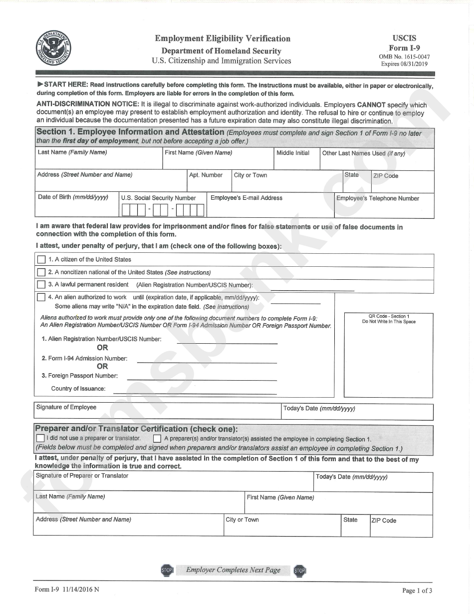 Department Of Homeland Security Form I 9 Employment