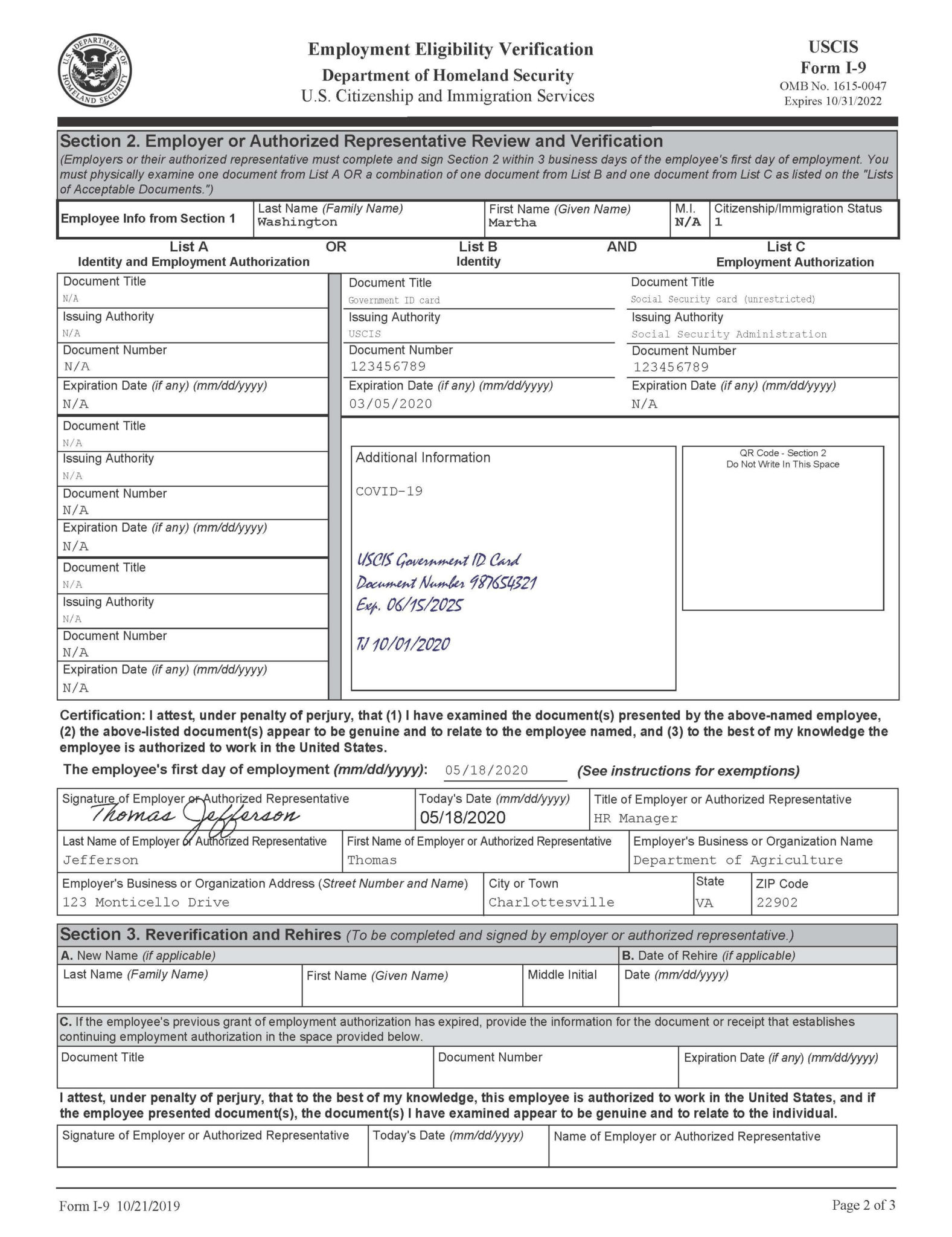 Form I 9 Examples Related To Temporary Covid 19 Policies