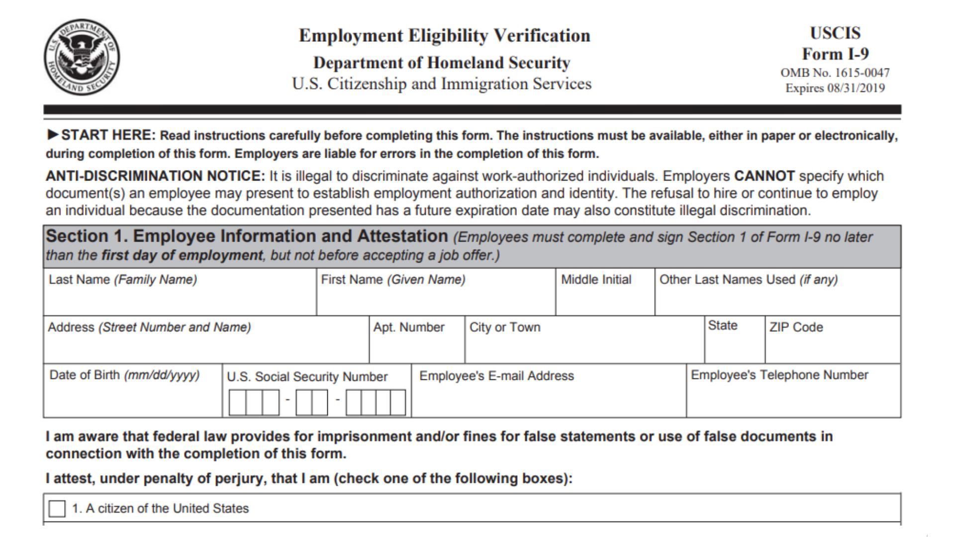 Form I 9 Fines I9 Form Printable