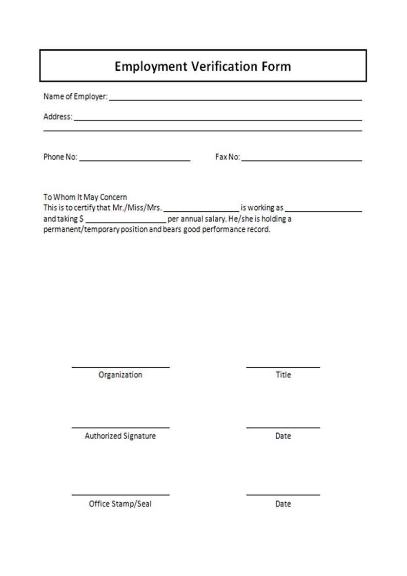 Free Printable Verification Of Employment Form Shop Fresh