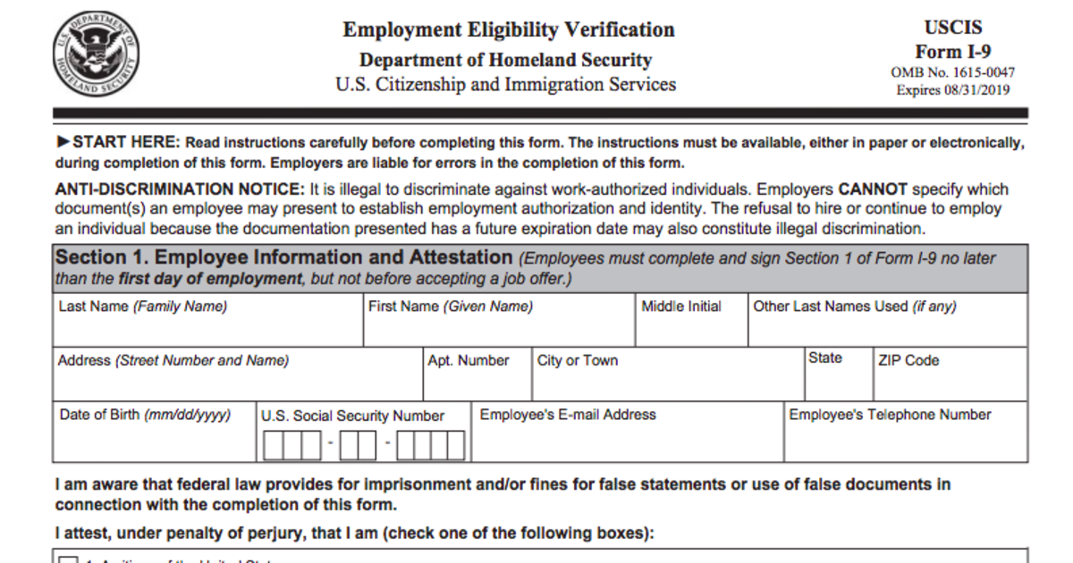 I 9 Form Employment Eligibility Form Requirements