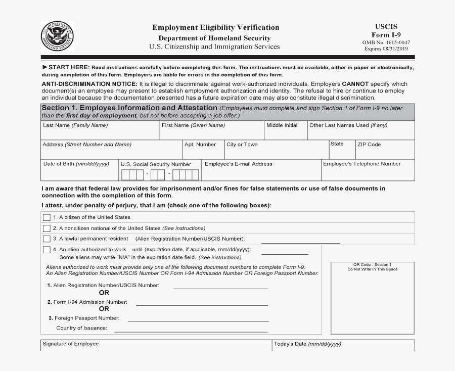 I 9 Verification Blank Printable I9 Form Free